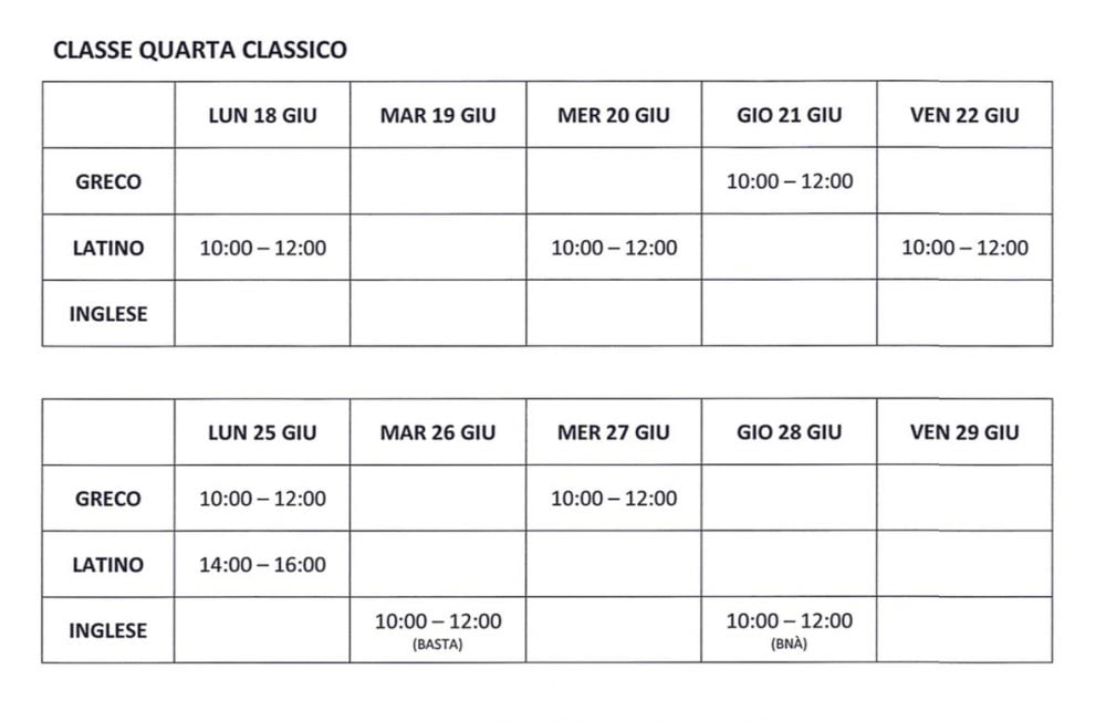 Calendario Greco.Calendario Esami Settembre 2018 Istituto Scolastico Sacra